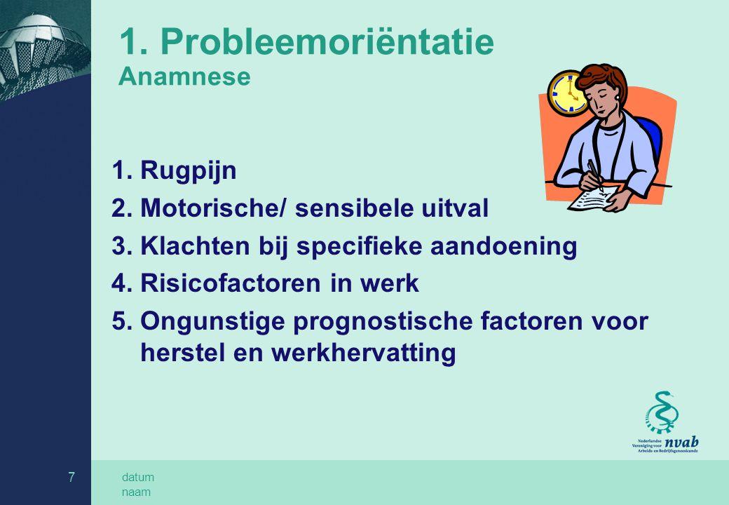 datum naam 7 1. Probleemoriëntatie Anamnese 1. Rugpijn 2. Motorische/ sensibele uitval 3. Klachten bij specifieke aandoening 4. Risicofactoren in werk