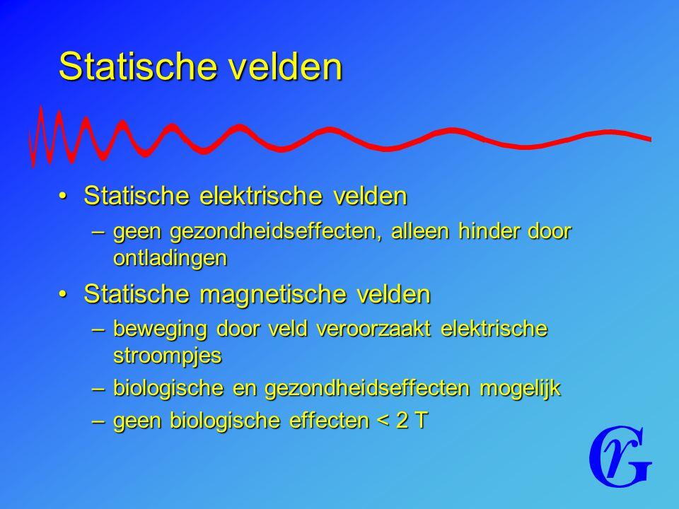 Statische velden Statische elektrische veldenStatische elektrische velden –geen gezondheidseffecten, alleen hinder door ontladingen Statische magnetis