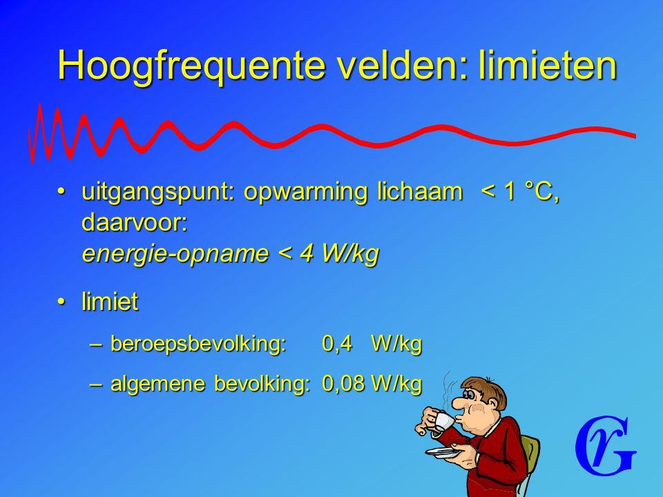 Hoogfrequente velden: limieten uitgangspunt: opwarming lichaam < 1 °C, daarvoor: energie-opname < 4 W/kguitgangspunt: opwarming lichaam < 1 °C, daarvo