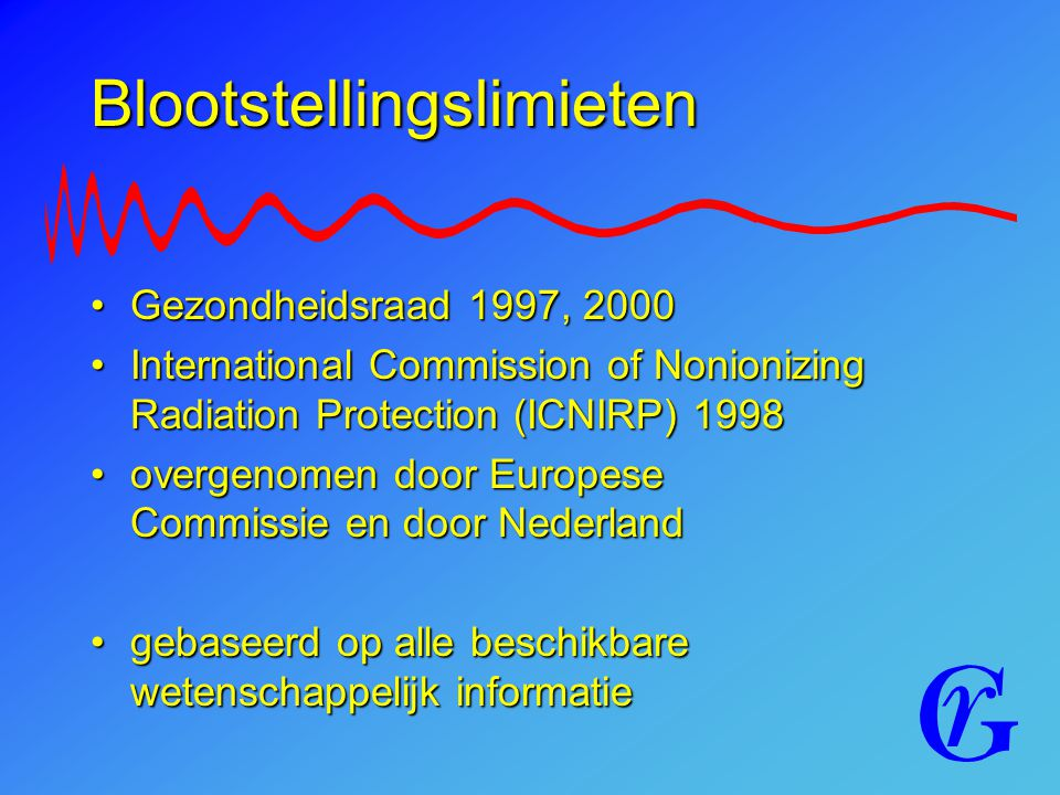 Blootstellingslimieten Gezondheidsraad 1997, 2000Gezondheidsraad 1997, 2000 International Commission of Nonionizing Radiation Protection (ICNIRP) 1998