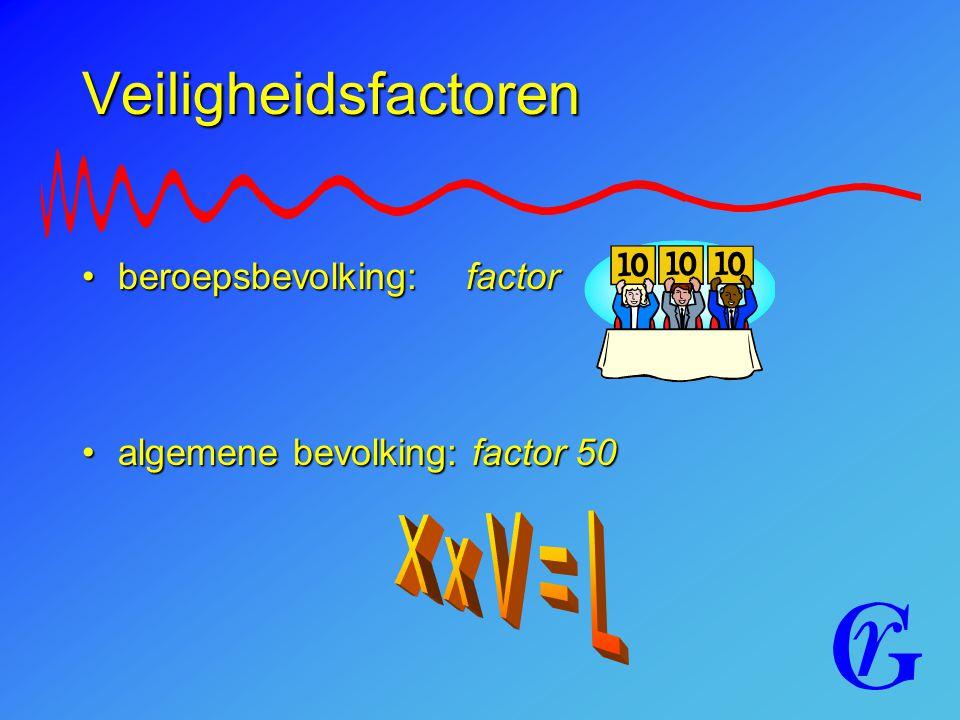 Veiligheidsfactoren beroepsbevolking: factorberoepsbevolking: factor algemene bevolking: factor 50algemene bevolking: factor 50