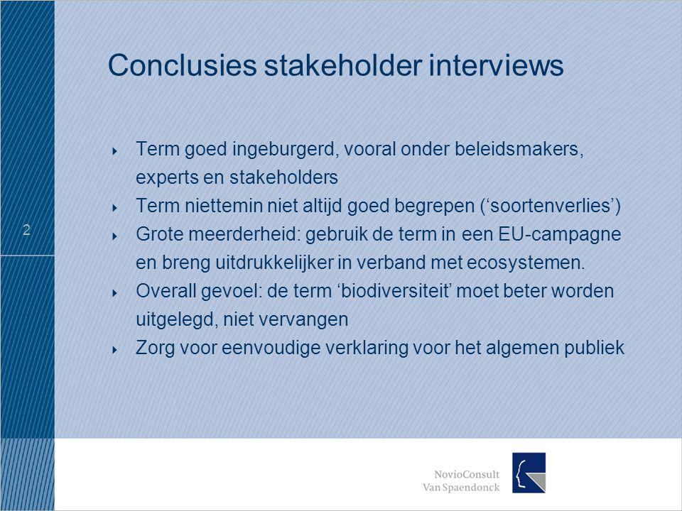 2 Conclusies stakeholder interviews  Term goed ingeburgerd, vooral onder beleidsmakers, experts en stakeholders  Term niettemin niet altijd goed begrepen ('soortenverlies')  Grote meerderheid: gebruik de term in een EU-campagne en breng uitdrukkelijker in verband met ecosystemen.