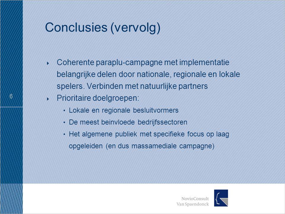 6 Conclusies (vervolg)  Coherente paraplu-campagne met implementatie belangrijke delen door nationale, regionale en lokale spelers.