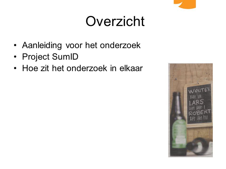 Overzicht Aanleiding voor het onderzoek Project SumID Hoe zit het onderzoek in elkaar