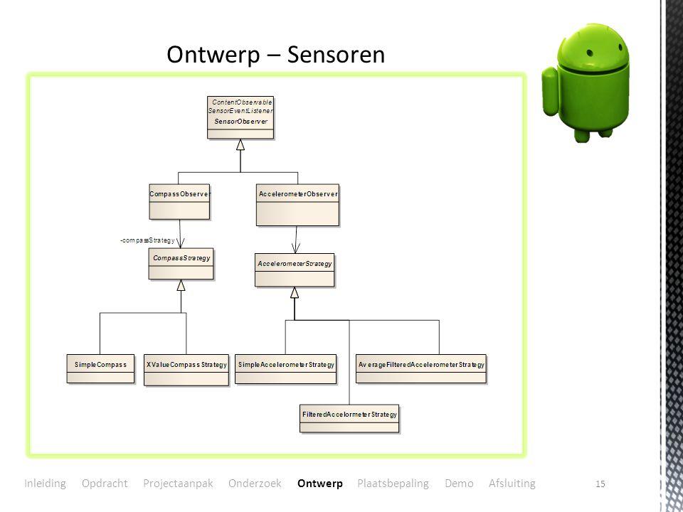 15 Ontwerp – Sensoren Inleiding Opdracht Projectaanpak Onderzoek Ontwerp Plaatsbepaling Demo Afsluiting