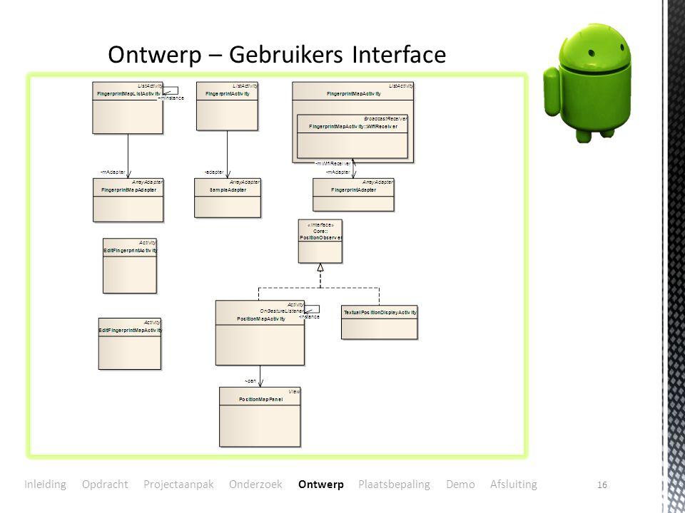 16 Ontwerp – Gebruikers Interface Inleiding Opdracht Projectaanpak Onderzoek Ontwerp Plaatsbepaling Demo Afsluiting