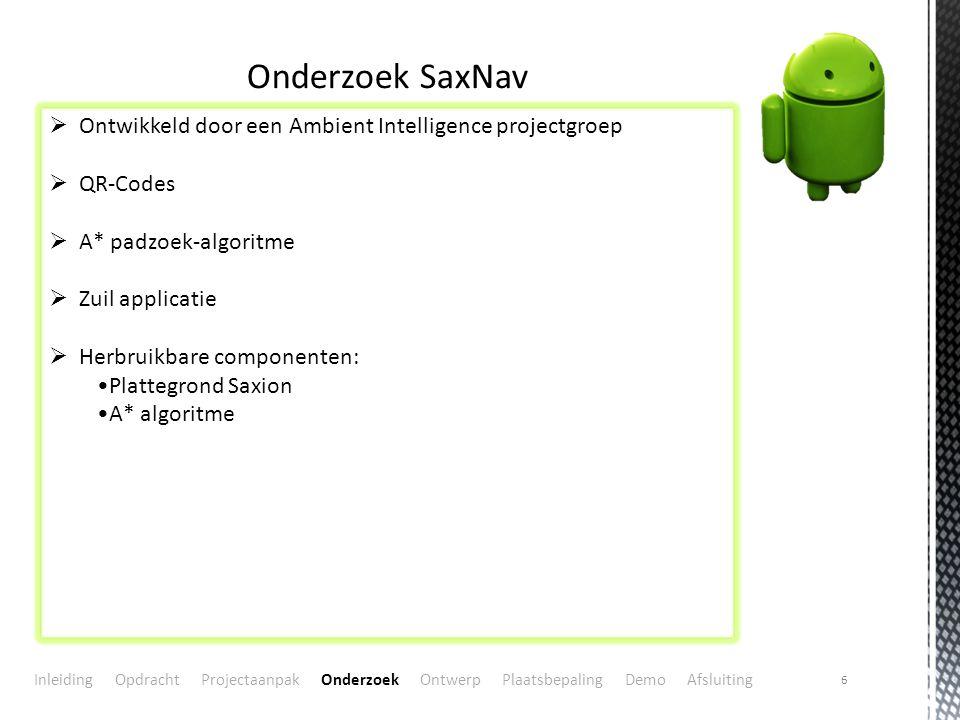 6 Onderzoek SaxNav  Ontwikkeld door een Ambient Intelligence projectgroep  QR-Codes  A* padzoek-algoritme  Zuil applicatie  Herbruikbare componen