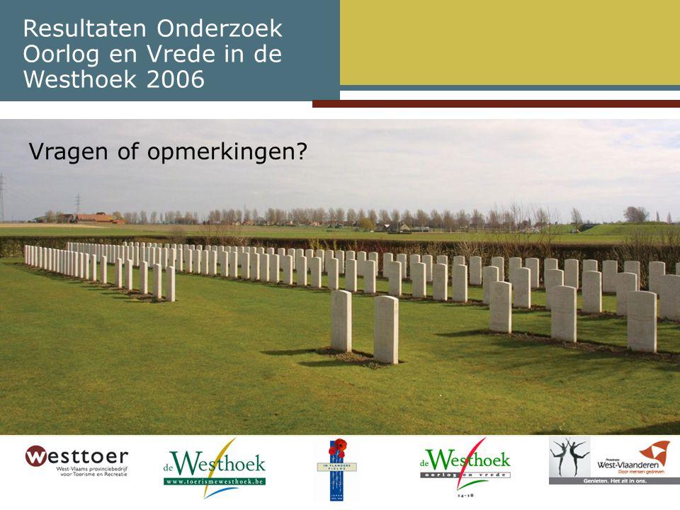 Resultaten Onderzoek Oorlog en Vrede in de Westhoek 2006 Vragen of opmerkingen?