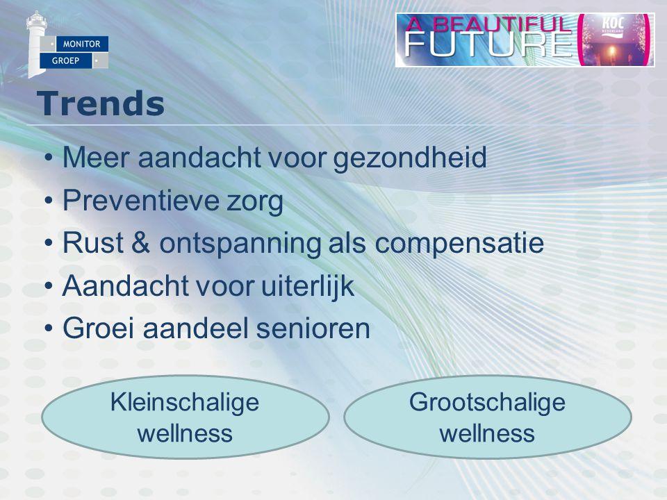Trends Meer aandacht voor gezondheid Preventieve zorg Rust & ontspanning als compensatie Aandacht voor uiterlijk Groei aandeel senioren Kleinschalige wellness Grootschalige wellness