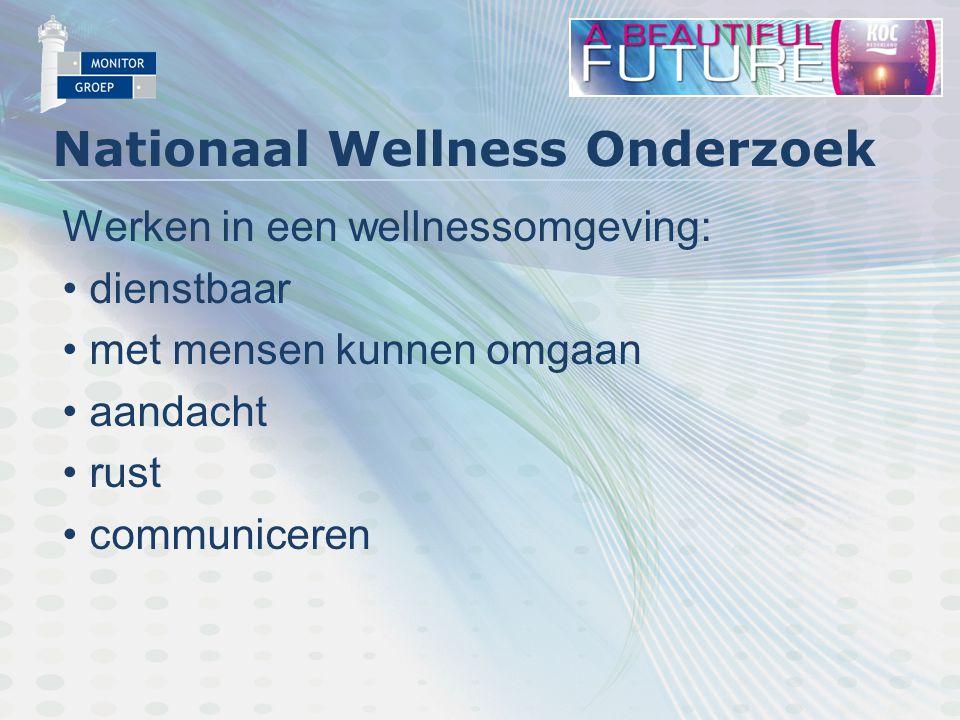 Nationaal Wellness Onderzoek Werken in een wellnessomgeving: dienstbaar met mensen kunnen omgaan aandacht rust communiceren