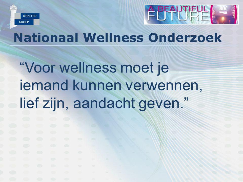 Nationaal Wellness Onderzoek Voor wellness moet je iemand kunnen verwennen, lief zijn, aandacht geven.