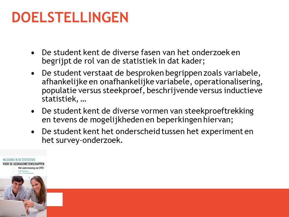 DOELSTELLINGEN De student kent de diverse fasen van het onderzoek en begrijpt de rol van de statistiek in dat kader; De student verstaat de besproken