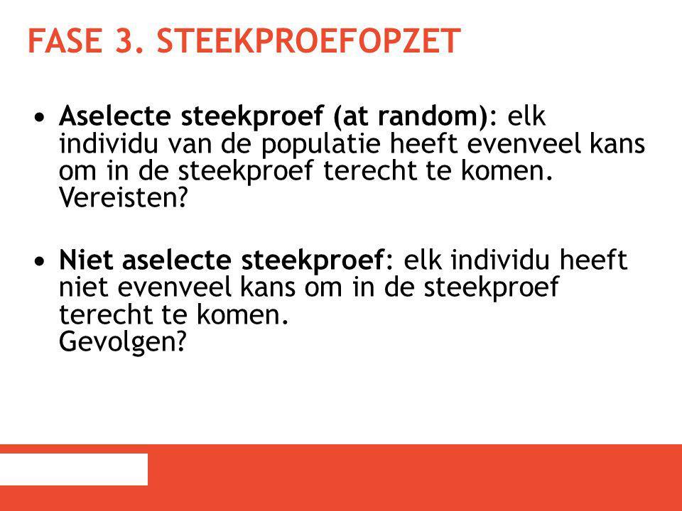 FASE 3. STEEKPROEFOPZET Aselecte steekproef (at random): elk individu van de populatie heeft evenveel kans om in de steekproef terecht te komen. Verei