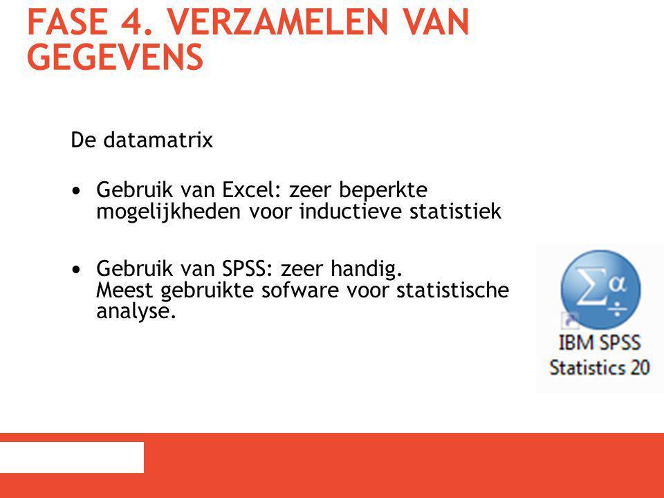 FASE 4. VERZAMELEN VAN GEGEVENS De datamatrix Gebruik van Excel: zeer beperkte mogelijkheden voor inductieve statistiek Gebruik van SPSS: zeer handig.