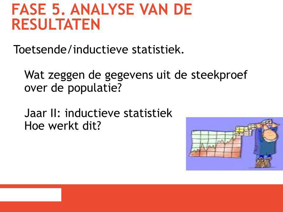 FASE 5. ANALYSE VAN DE RESULTATEN Toetsende/inductieve statistiek. Wat zeggen de gegevens uit de steekproef over de populatie? Jaar II: inductieve sta
