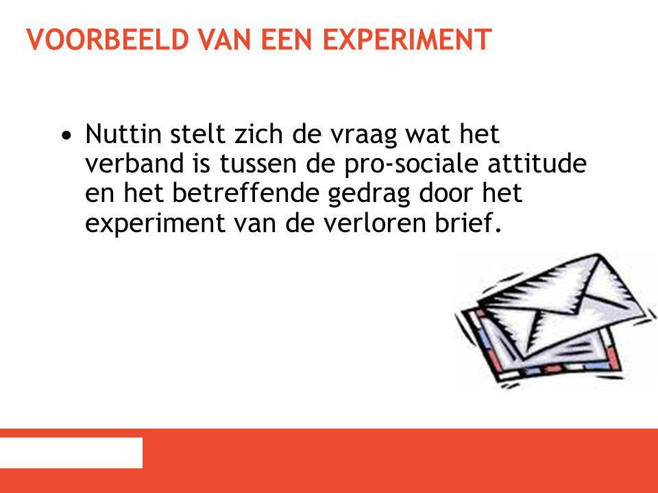 VOORBEELD VAN EEN EXPERIMENT Nuttin stelt zich de vraag wat het verband is tussen de pro-sociale attitude en het betreffende gedrag door het experimen