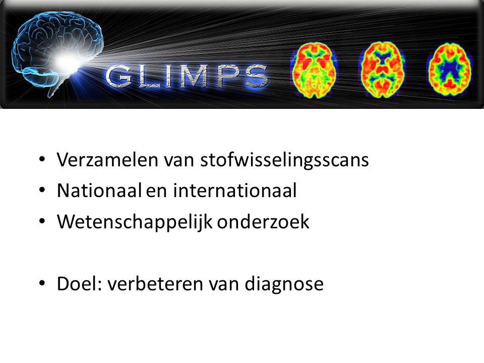 Verzamelen van stofwisselingsscans Nationaal en internationaal Wetenschappelijk onderzoek Doel: verbeteren van diagnose