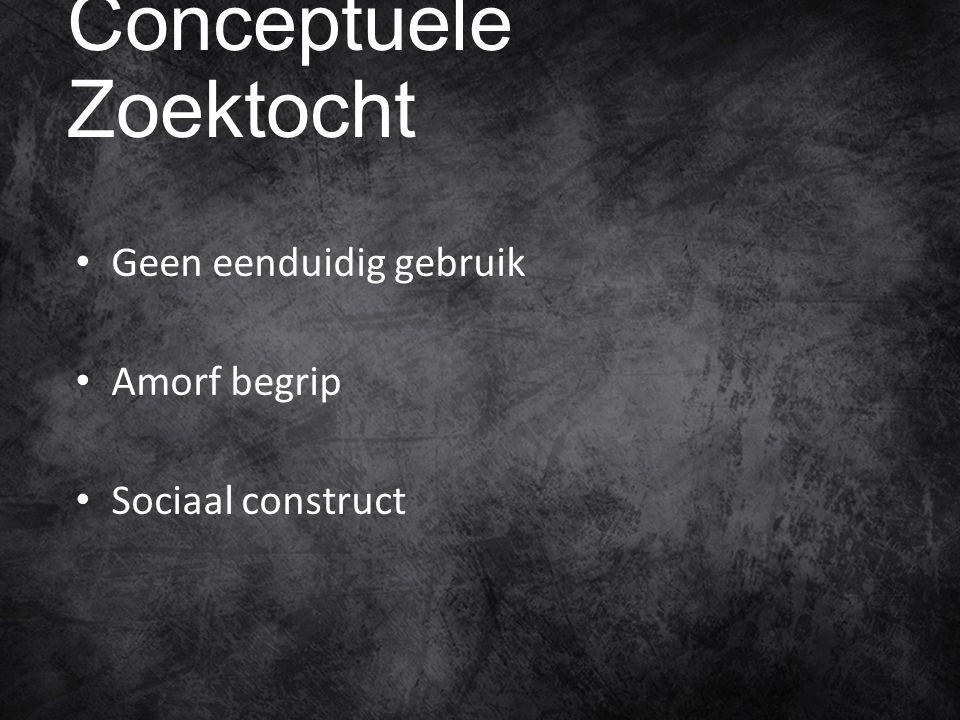 Conceptuele Zoektocht Geen eenduidig gebruik Amorf begrip Sociaal construct
