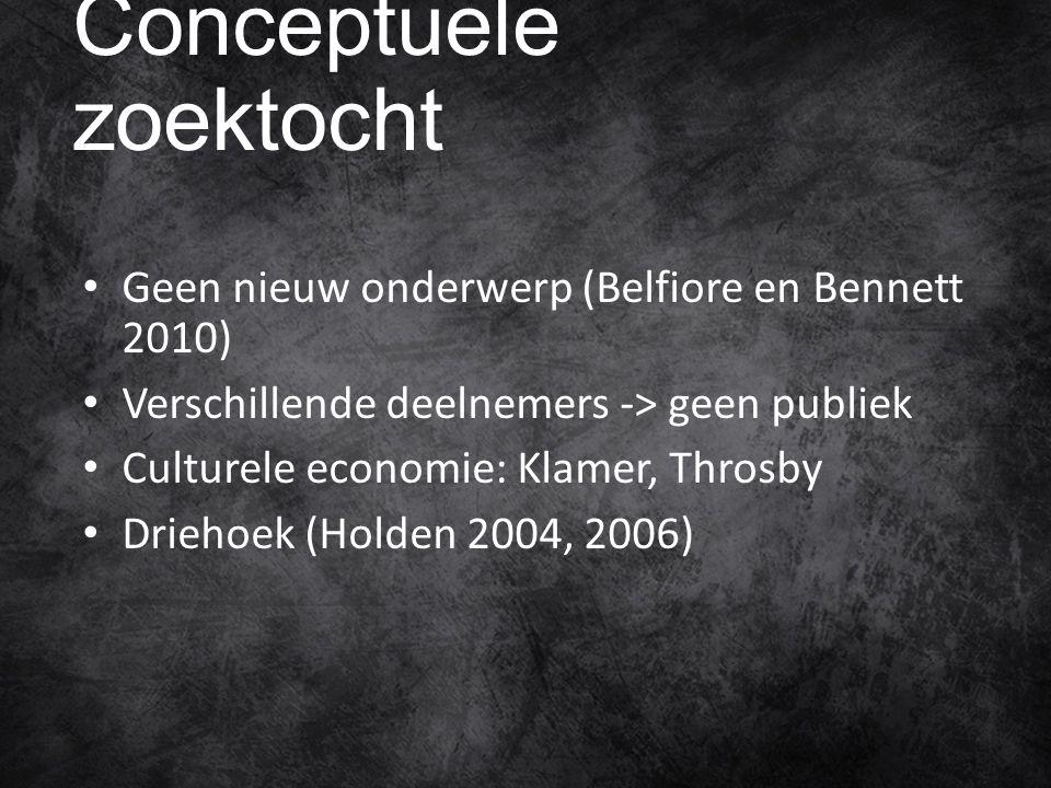 Conceptuele zoektocht Geen nieuw onderwerp (Belfiore en Bennett 2010) Verschillende deelnemers -> geen publiek Culturele economie: Klamer, Throsby Driehoek (Holden 2004, 2006)