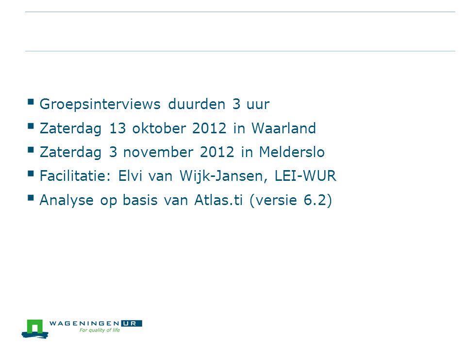  Groepsinterviews duurden 3 uur  Zaterdag 13 oktober 2012 in Waarland  Zaterdag 3 november 2012 in Melderslo  Facilitatie: Elvi van Wijk-Jansen, L