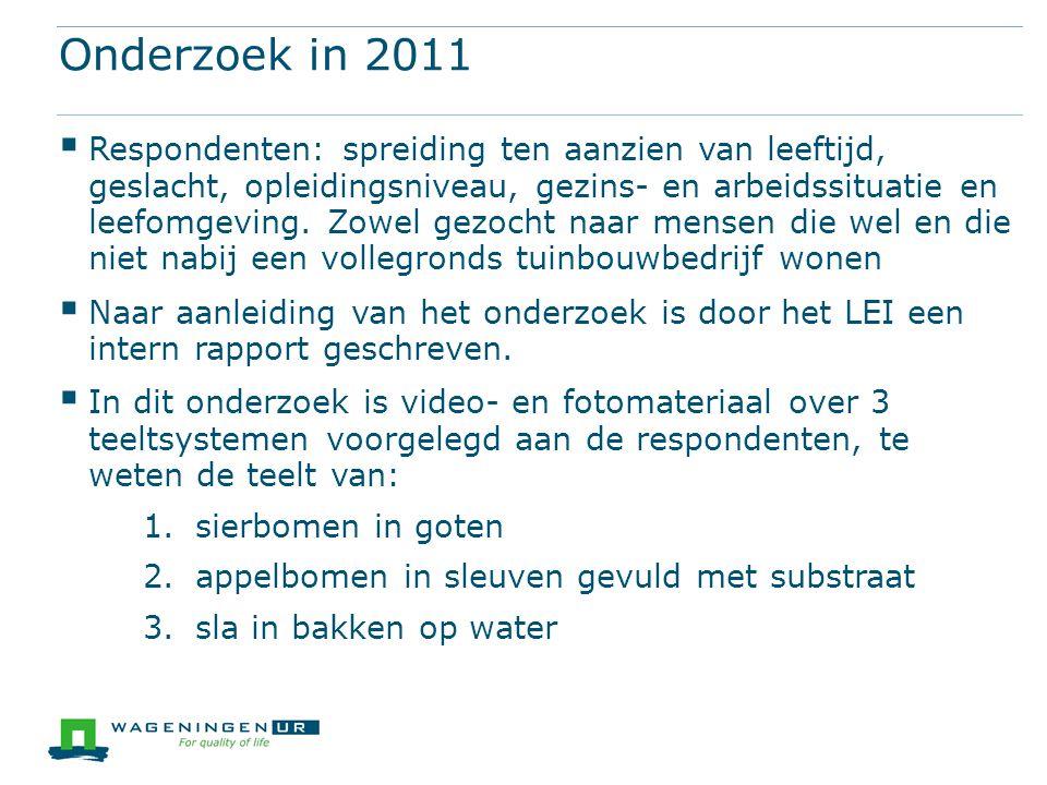 Onderzoek in 2011  Respondenten: spreiding ten aanzien van leeftijd, geslacht, opleidingsniveau, gezins- en arbeidssituatie en leefomgeving. Zowel ge