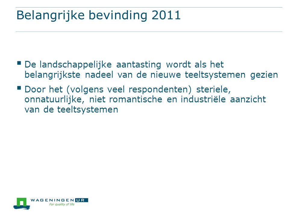 Belangrijke bevinding 2011  De landschappelijke aantasting wordt als het belangrijkste nadeel van de nieuwe teeltsystemen gezien  Door het (volgens