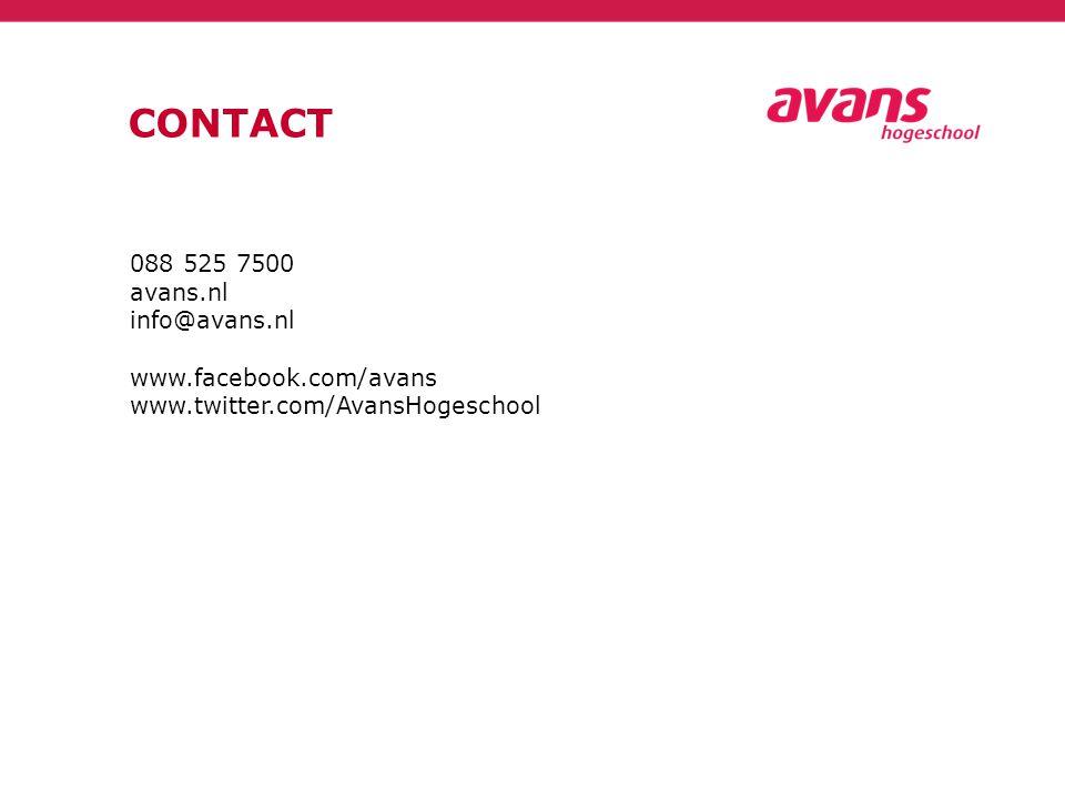 CONTACT 088 525 7500 avans.nl info@avans.nl www.facebook.com/avans www.twitter.com/AvansHogeschool