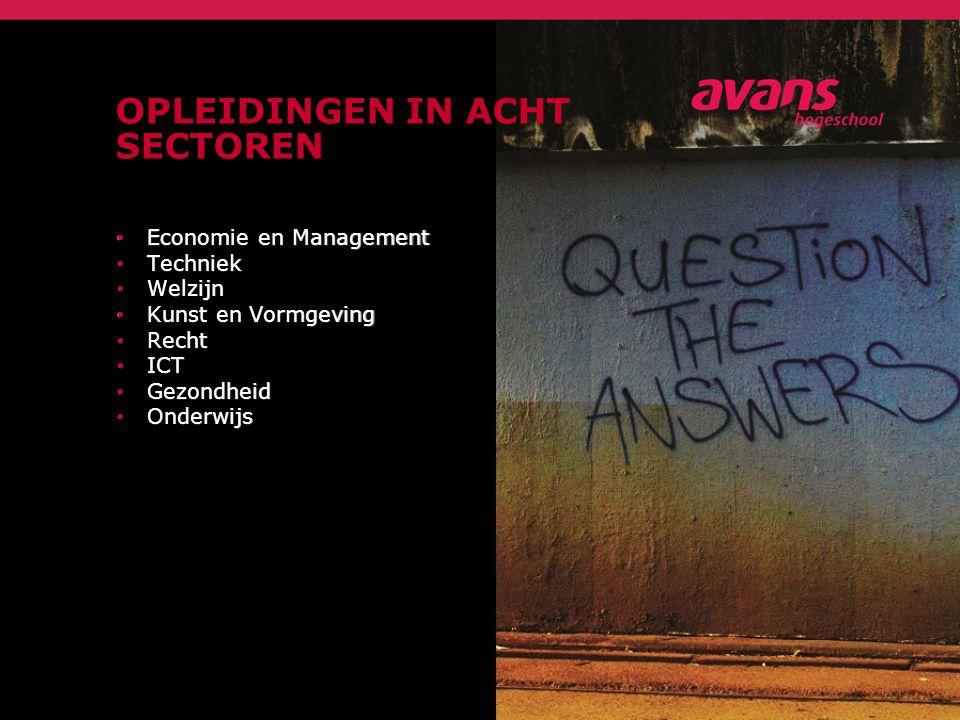 OPLEIDINGEN IN ACHT SECTOREN Economie en Management Economie en Management Techniek Techniek Welzijn Welzijn Kunst en Vormgeving Kunst en Vormgeving Recht Recht ICT ICT Gezondheid Gezondheid Onderwijs Onderwijs
