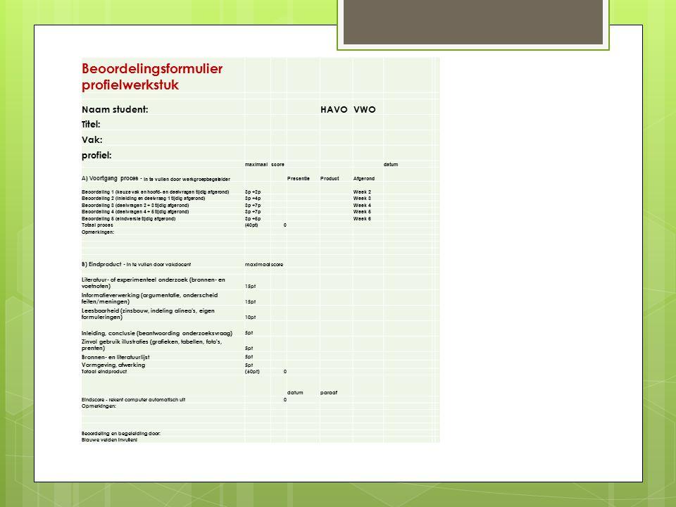 Beoordelingsformulier profielwerkstuk Naam student:HAVOVWO Titel: Vak: profiel: maximaalscoredatum A) Voortgang proces - in te vullen door werkgroepbe