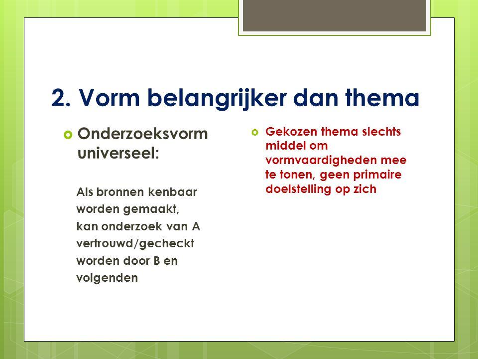 Voorgestelde vorm Titelpagina: titel, naam, school/niveau, schooljaar Inhoudsopgave: met hoofdstuktitels en paginanummers Inleiding: waarom gekozen voor dit onderwerp (interesse) wat was precies de opdracht (onderzoek vaardigheden) hoe werd opdracht uitgewerkt (hoofd- en deelvragen) wat is/was de werkhypothese (verwachte uitkomst onderzoek) Hoofdstukken: eventueel vernoemd naar de deelvragen voetnoten in tekst die verwijzen naar bronnen hoofdstukken beginnen op nieuwe pagina eigen tekst/alinea-indeling/geen overbodige witregels Conclusie: samenvatting/reactie op werkhypothese/nabeschouwing Bronnen-/literatuurlijst: volledige websites /boeken en artikelen met titel, auteur, jaar en plaats van uitgave