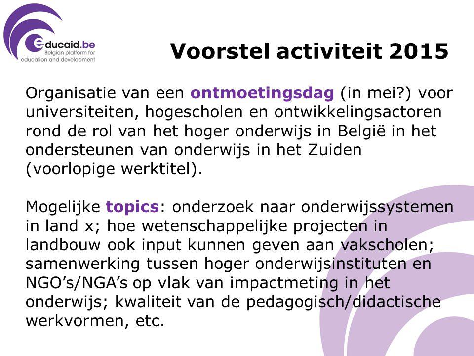 Organisatie van een ontmoetingsdag (in mei?) voor universiteiten, hogescholen en ontwikkelingsactoren rond de rol van het hoger onderwijs in België in het ondersteunen van onderwijs in het Zuiden (voorlopige werktitel).