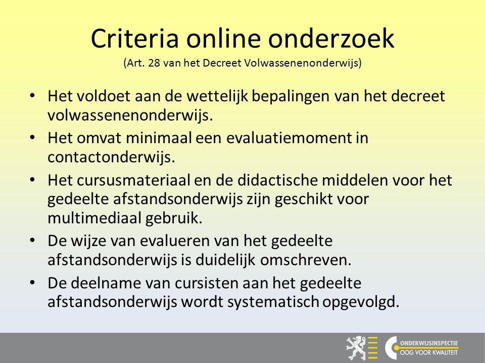 Criteria online onderzoek (Art.