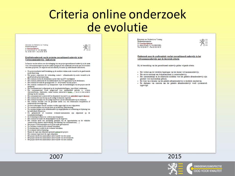 Criteria online onderzoek de evolutie 2015 2007