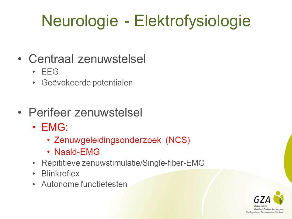 Neurologie - Elektrofysiologie Centraal zenuwstelsel EEG Geëvokeerde potentialen Perifeer zenuwstelsel EMG: Zenuwgeleidingsonderzoek (NCS) Naald-EMG R