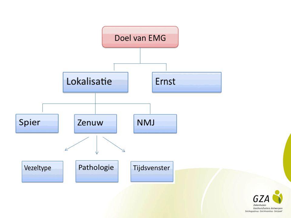 EMG: interpretatie EMG is uitbreiding van klinisch onderzoek Belang van klinisch-elektrofysiologisch correlaat Indien twijfel: door technische factoren.