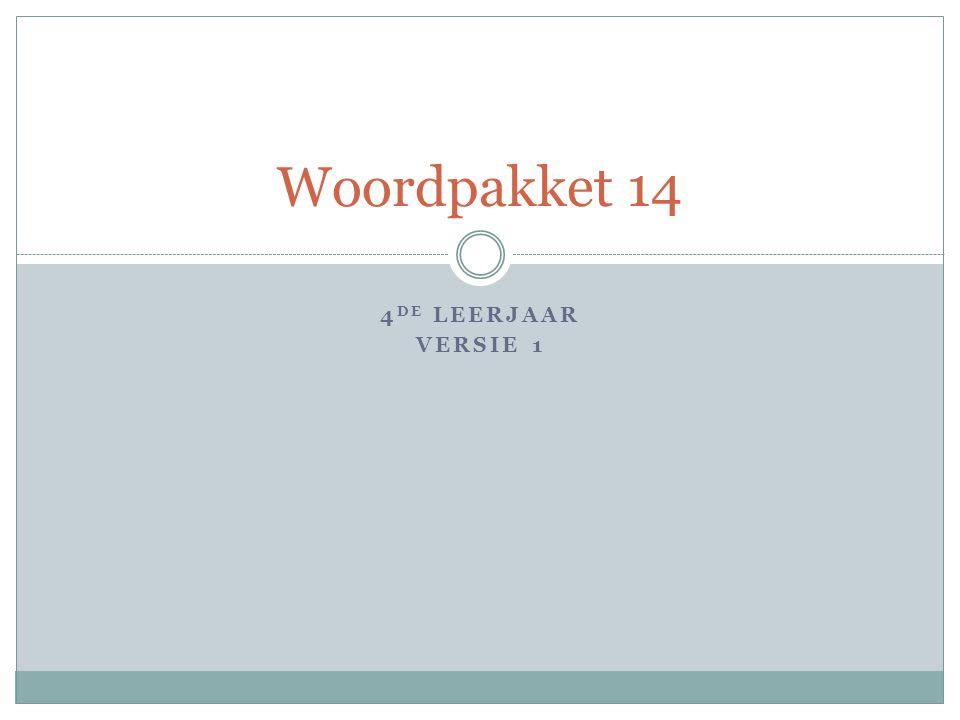 4 DE LEERJAAR VERSIE 1 Woordpakket 14