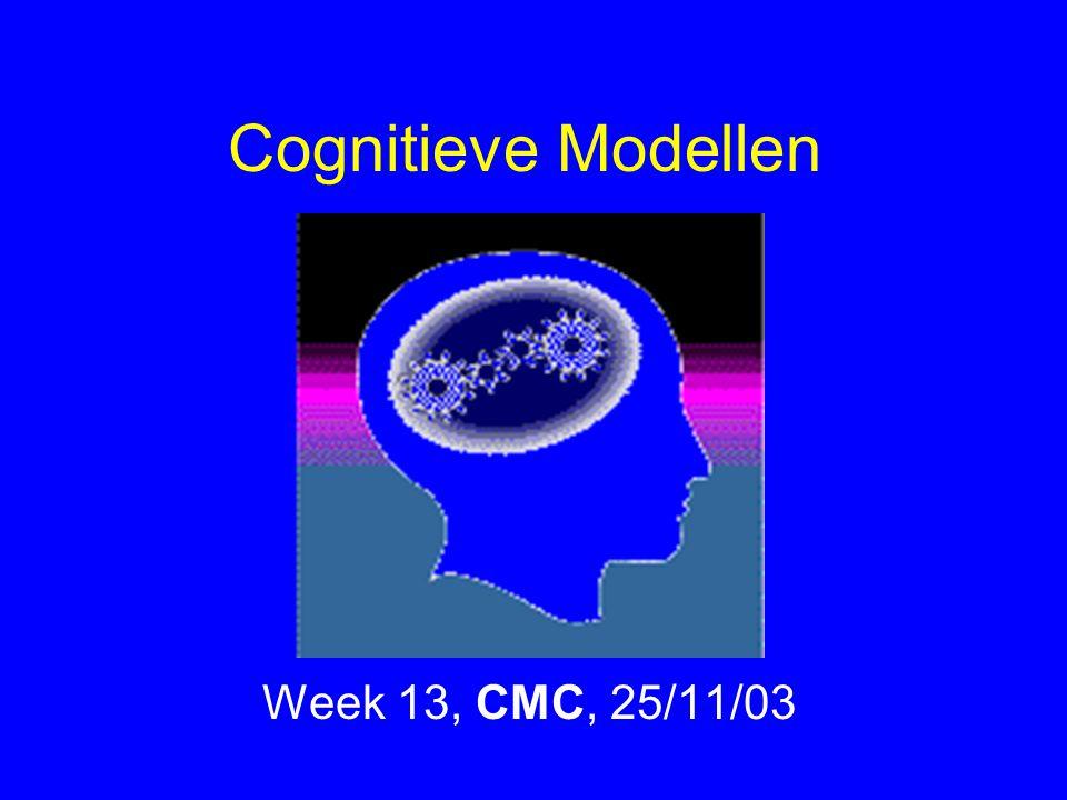 Cognitieve Modellen Week 13, CMC, 25/11/03