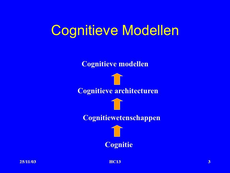 25/11/03HC133 Cognitieve Modellen Cognitieve modellen Cognitieve architecturen Cognitiewetenschappen Cognitie