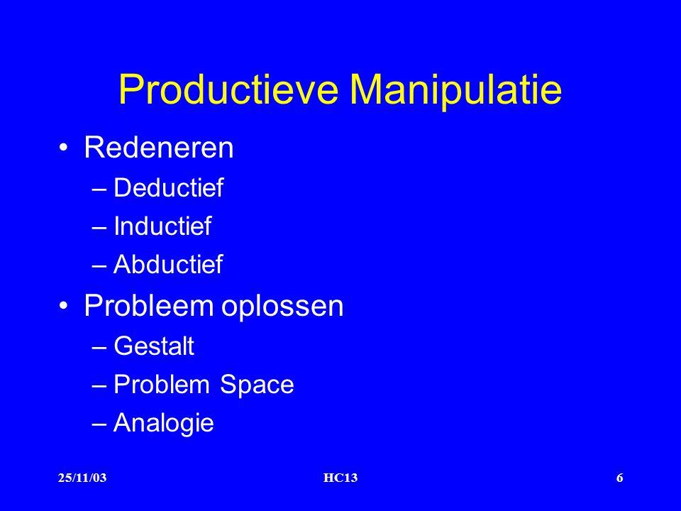 25/11/03HC136 Productieve Manipulatie Redeneren –Deductief –Inductief –Abductief Probleem oplossen –Gestalt –Problem Space –Analogie