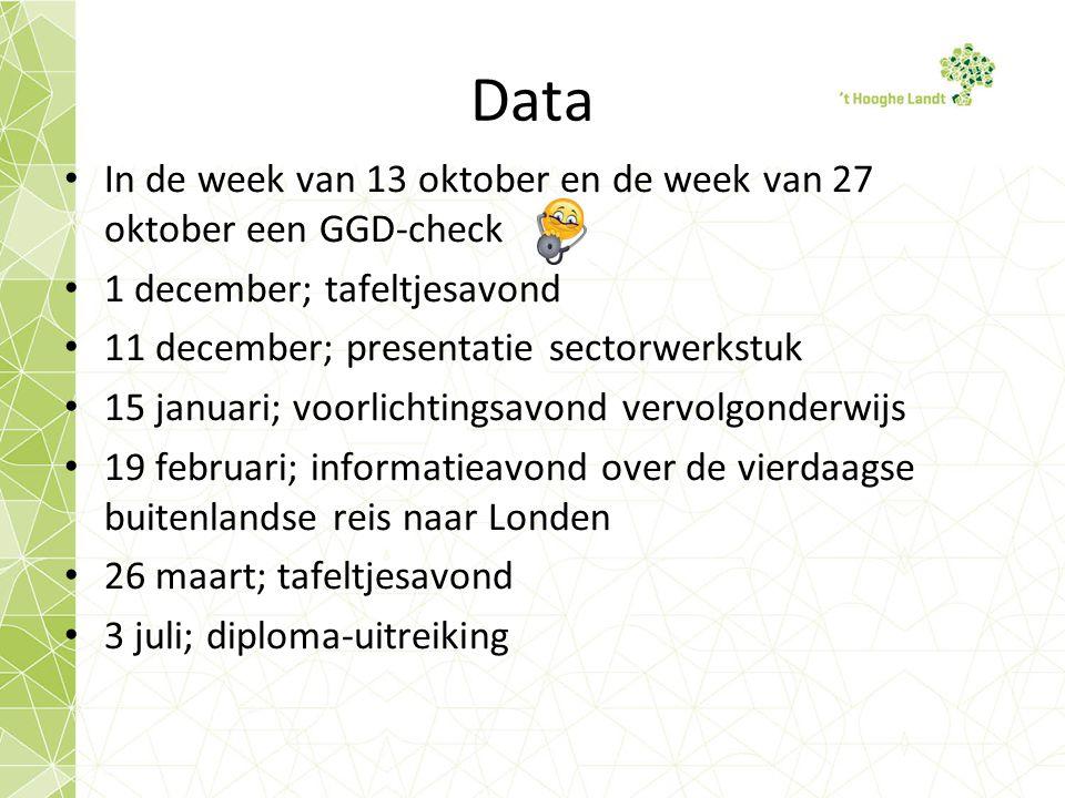 Data In de week van 13 oktober en de week van 27 oktober een GGD-check 1 december; tafeltjesavond 11 december; presentatie sectorwerkstuk 15 januari;
