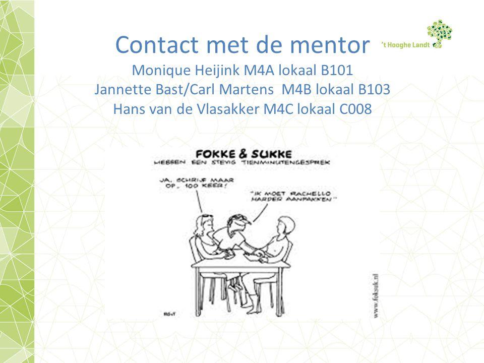 Contact met de mentor Monique Heijink M4A lokaal B101 Jannette Bast/Carl Martens M4B lokaal B103 Hans van de Vlasakker M4C lokaal C008