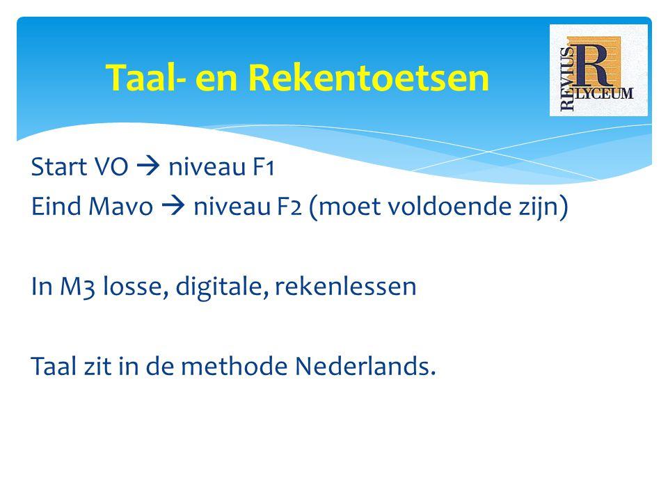 Start VO  niveau F1 Eind Mavo  niveau F2 (moet voldoende zijn) In M3 losse, digitale, rekenlessen Taal zit in de methode Nederlands.