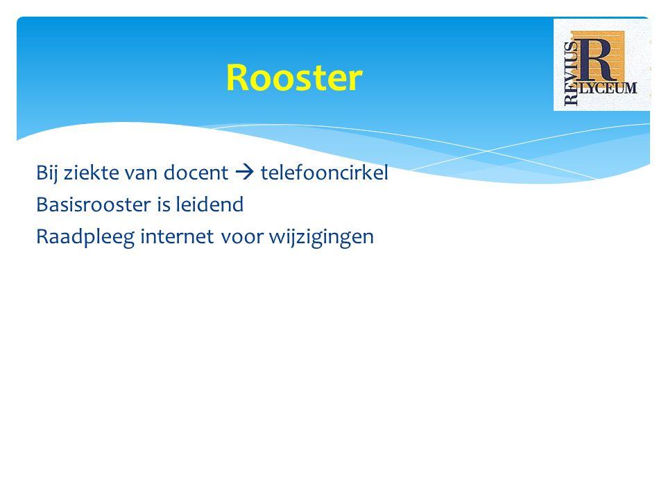 Bij ziekte van docent  telefooncirkel Basisrooster is leidend Raadpleeg internet voor wijzigingen Rooster