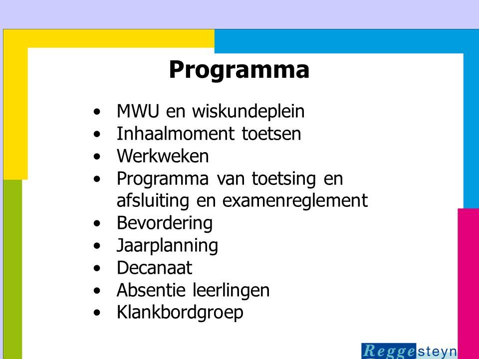 24-3-2015112 Programma MWU en wiskundeplein Inhaalmoment toetsen Werkweken Programma van toetsing en afsluiting en examenreglement Bevordering Jaarpla