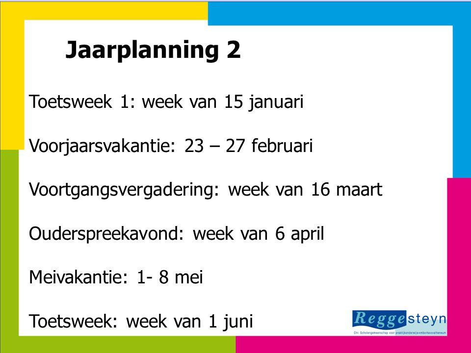 24-3-2015131 Jaarplanning 2 Toetsweek 1: week van 15 januari Voorjaarsvakantie: 23 – 27 februari Voortgangsvergadering: week van 16 maart Ouderspreeka