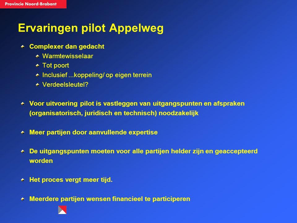 Ervaringen pilot Appelweg Complexer dan gedacht Warmtewisselaar Tot poort Inclusief...koppeling/ op eigen terrein Verdeelsleutel? Voor uitvoering pilo