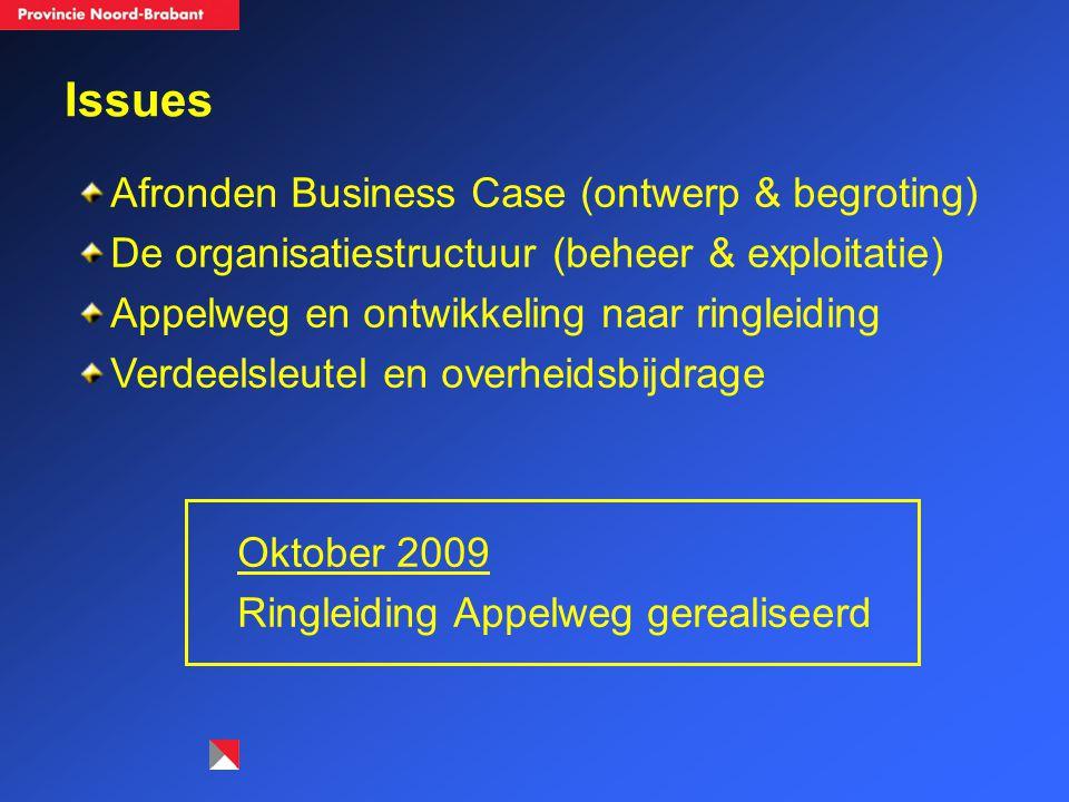 Issues Afronden Business Case (ontwerp & begroting) De organisatiestructuur (beheer & exploitatie) Appelweg en ontwikkeling naar ringleiding Verdeelsl