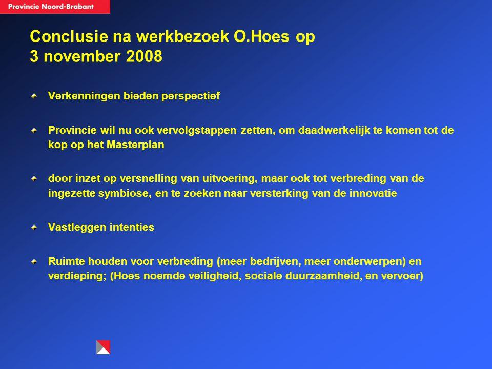 Conclusie na werkbezoek O.Hoes op 3 november 2008 Verkenningen bieden perspectief Provincie wil nu ook vervolgstappen zetten, om daadwerkelijk te kome