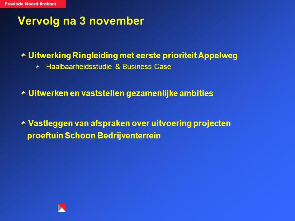 Vervolg na 3 november Uitwerking Ringleiding met eerste prioriteit Appelweg Haalbaarheidsstudie & Business Case Uitwerken en vaststellen gezamenlijke