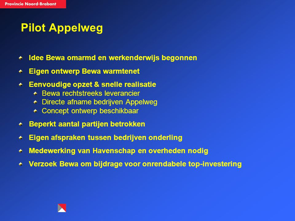 Pilot Appelweg Idee Bewa omarmd en werkenderwijs begonnen Eigen ontwerp Bewa warmtenet Eenvoudige opzet & snelle realisatie Bewa rechtstreeks leveranc